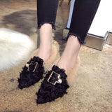 Pointed Rabbit Fur Shoes