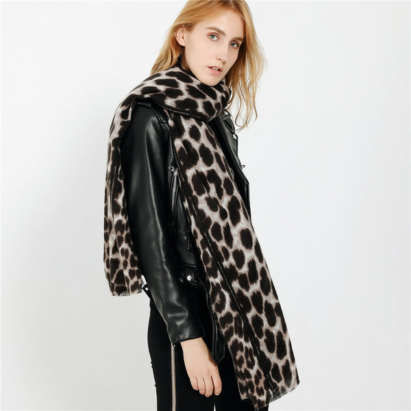 Autumn & Winter Leopard Imitation Cashmere Warmth Thickening Ladies Scarf
