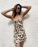Daisy Print Tie Rope Strap Dress