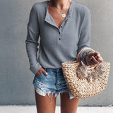 Round Neck Open Long Sleeve Solid Color T-shirt for Women