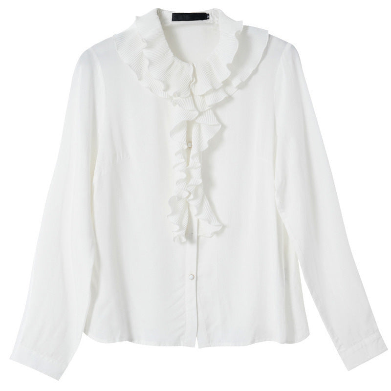 Women's Ruffled White Shirt