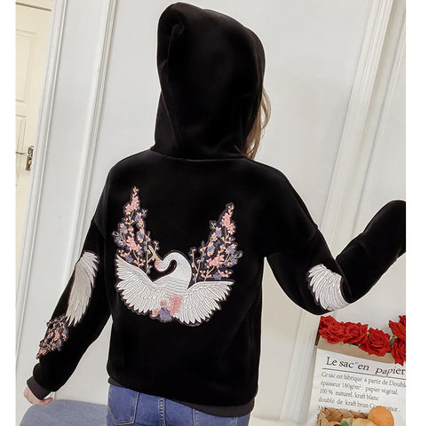Double-faced Velvet Thickening Embroidery Pattern Hoodies