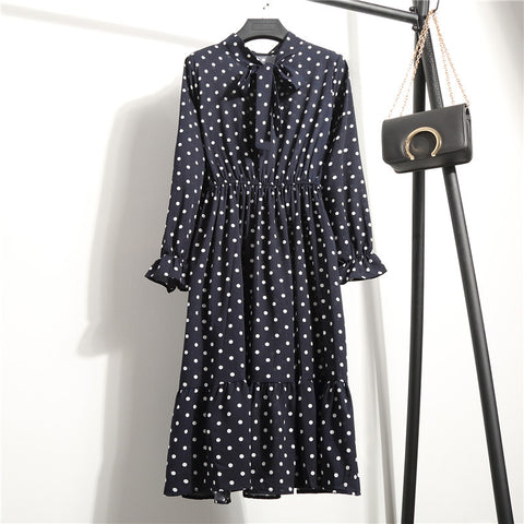 Vintage Chiffon Long-sleeve Flower Print Dress for Women
