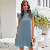 Mock neck contrast lace dress