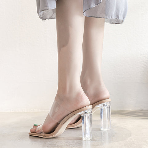 Transparent Strap Chunky Heeled Mules