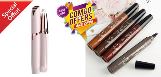 Painless Eyebrow Rose Gold Trimmer + Microblading Blooming Waterproof Eyebrow Pen