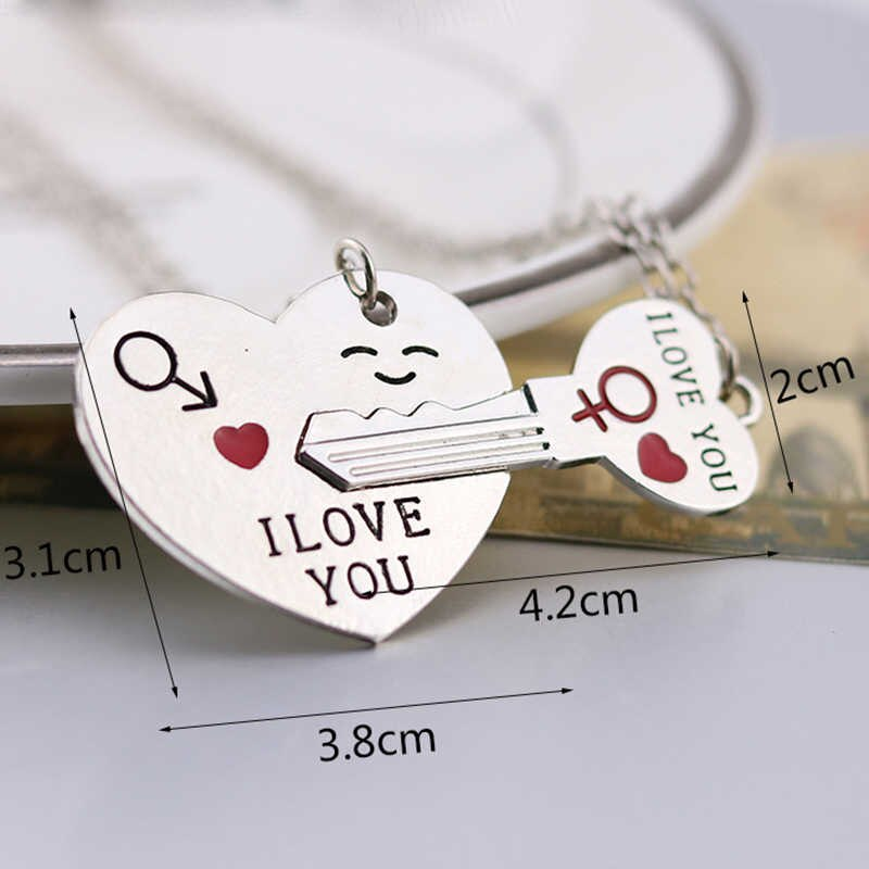 I Love You Heart Shape Key chain and Necklace 2 Piece Set