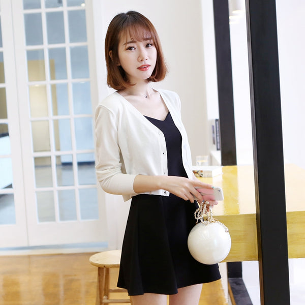 Women's Ultra-short V-neck Slim Thin Sweater