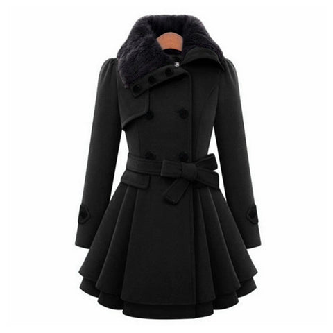 Women's Fit Body Long Woolen Double-breasted Coat