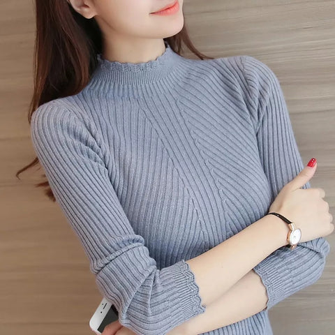 Women's Ruffled Slim Long-sleeved Bottoming Sweater