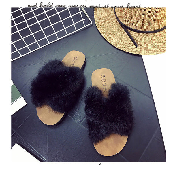 Summer Net Star Rabbit Fur Fashion Flat With Sandals