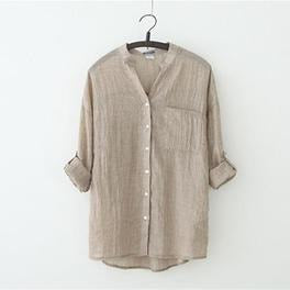 V neck Cotton Shirt Casual Long-sleeved for Women