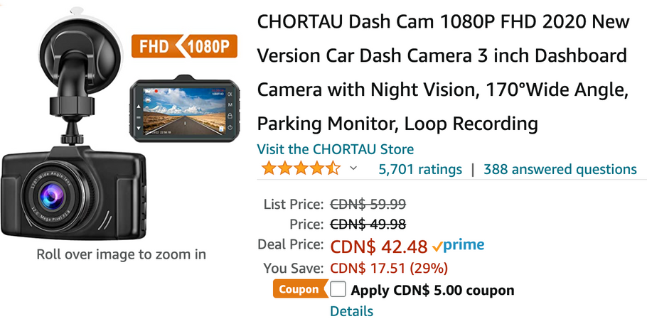 Amazon Canada Deals: Save 38% on Car Dash Camera with Night Vision + 40% off Mini Projector Portable with Coupon + More Offer