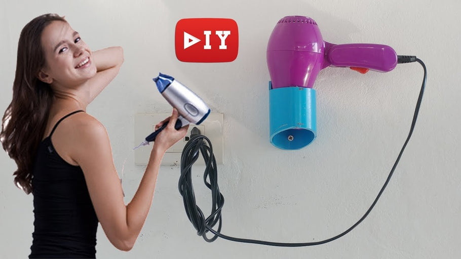 This is a creative idea to make home use PVC wall mount for hair dryer
