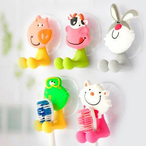 Cute Cartoon sucker toothbrush holder / suction hooks /household items /bathroom/toothbrush rack/bathroom set 5pcs/lot
