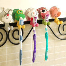 Load image into Gallery viewer, Cute Cartoon sucker toothbrush holder / suction hooks /household items /bathroom/toothbrush rack/bathroom set 5pcs/lot