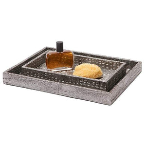 Hawen Faux Crocodile Bathroom Accessories - Pewter
