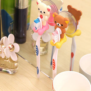 1 pc 2016 New Arrival cute Cartoon sucker toothbrush holder suction hooks bathroom set