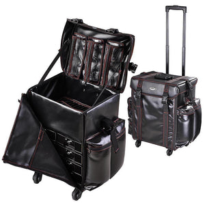 "Black Soft-sided Rolling Makeup Case 17x14x22"" PU Cosmetic Train"