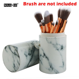 1Pcs Marbling Makeup Brush Holder Pattern Cylinder PU Leather Travel Cosmetic Brush Storage Empty