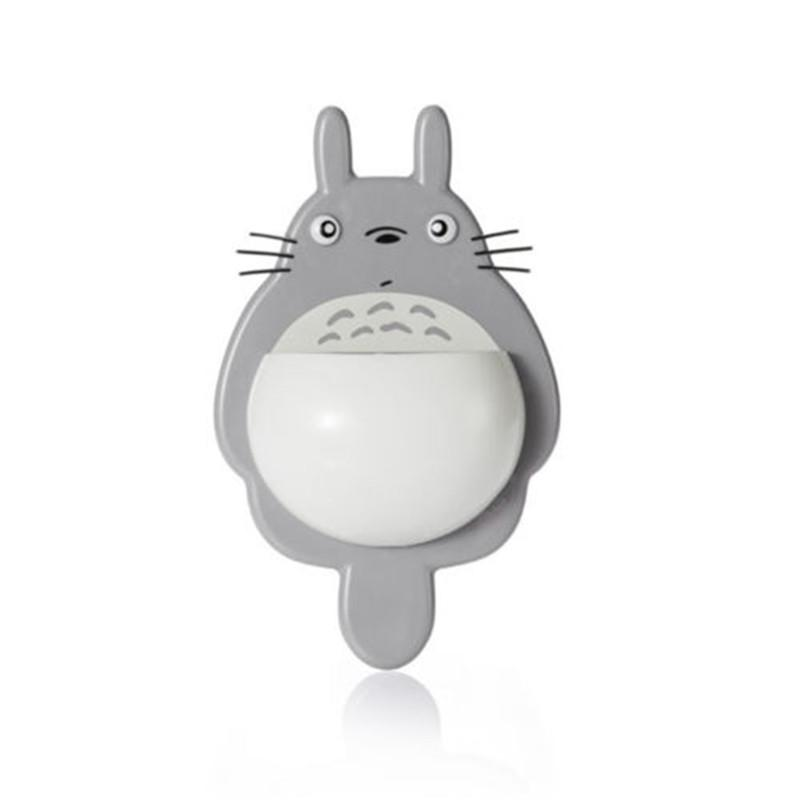 1Pcs Toothbrush Wall Mount Holder Cute Totoro Sucker Suction Bathroom Organizer Family Tools Accessories Drop Shipping