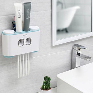 Automatic Toothpaste Dispenser with Wall Mount Toothbrush Holder Toothpaste Squeezer with 5 Brushes Set