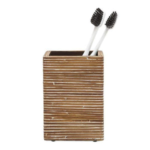 Kona Resin Brush Holder - Dark Brown Rattan