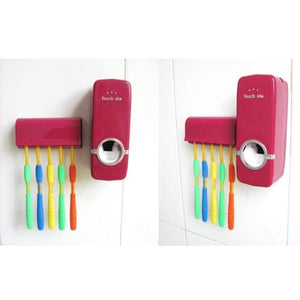 Home Automatic Toothpaste Dispenser + 5 Toothbrush Holder