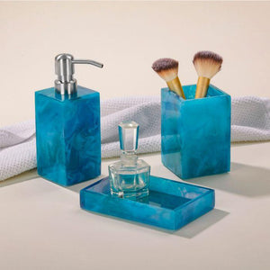 Delnice Blue Swirled Resin Bathroom Accessories