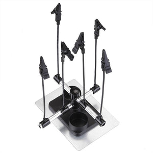 Airbrush Holder Stand w/ 6x Clips Adjustable Flexible Rod For Model