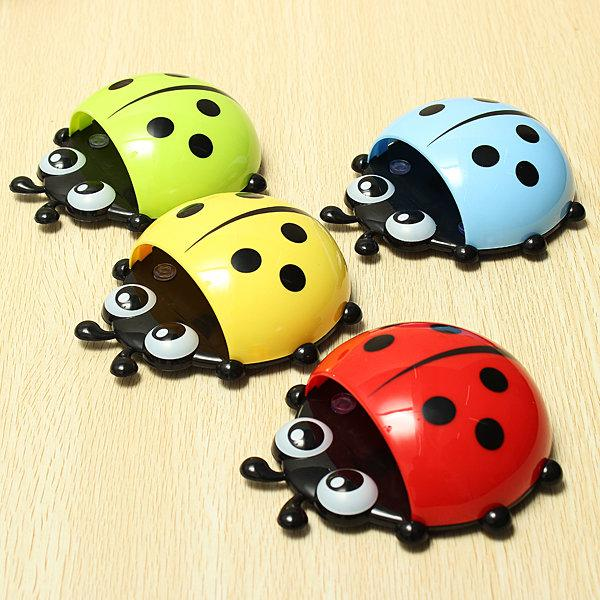 Ladybug Wall Suction Cup Pocket Toothbrush Holder