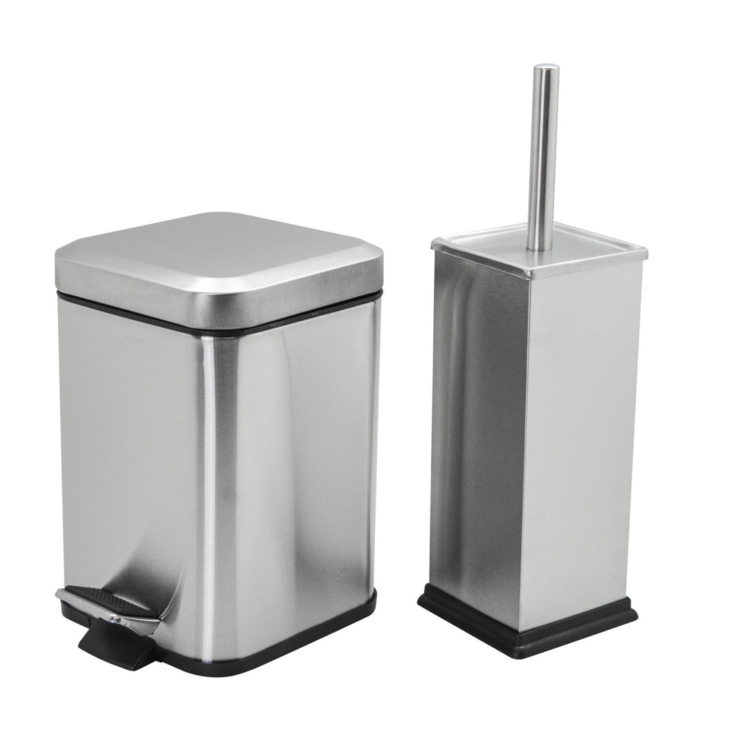Harbour Housewares Square Steel Bathroom Pedal Bin & Toilet Brush Set