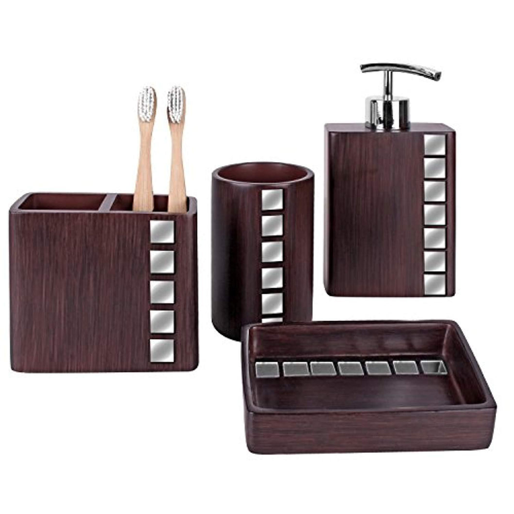 Creative Scents Marquee Bath Ensemble, 4 Piece Bathroom Accessories Set, Marquee Collection Bath Set Features Soap Dispenser, Toothbrush Holder, Tumbler, Soap Dish - Accented with Small Square Mirrors