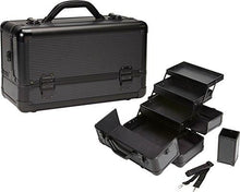 Load image into Gallery viewer, Pro Aluminum Makeup Train Case w/ Brush Holder