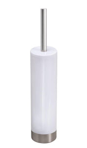 InterDesign Slim Toilet Bowl Brush and Holder – White/Brushed Stainless Steel
