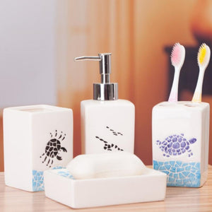 4pcs Mediterranean Style Ceramic Bathroom Set Home Furnishing Decoration Random Color