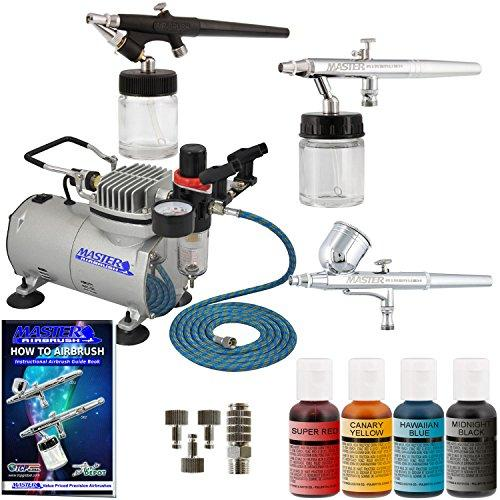 3 Airbrush Master Airbrush Cake Decorating Airbrushing System Kit with Set of 4 Chefmaster Food