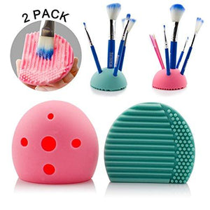 2 Pcs Cleaning Makeup Brush Holder,Makeup Organizer,Egg Cleaner Holder Silicone Washing Brush Scrubber Board Cosmetic Clean Tools