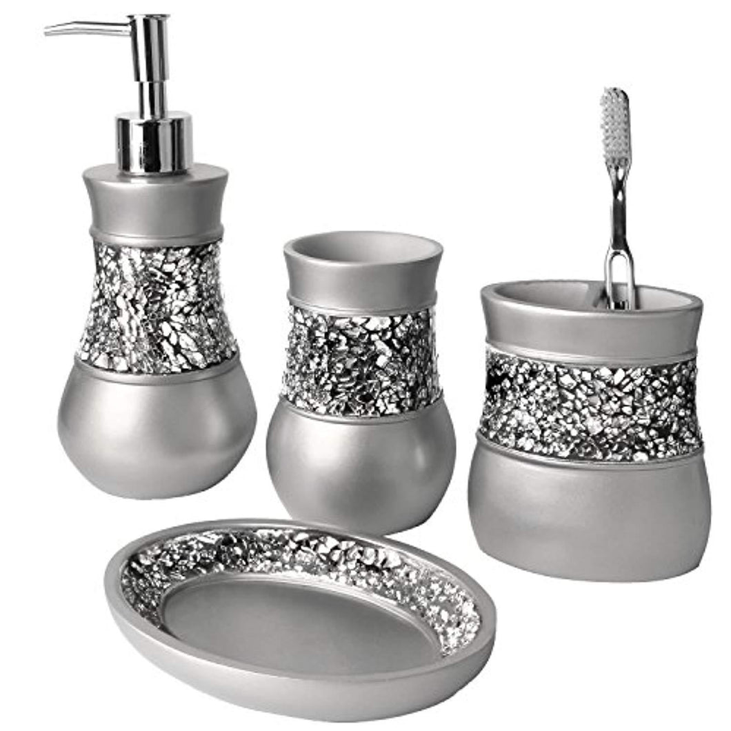 Creative Scents Bathroom Accessories Set, 4 Piece Bath Ensemble, Bath Set Collection Features Soap Dispenser Pump, Toothbrush Holder, Tumbler, Soap Dish- Gray - Silver Mosaic Glass
