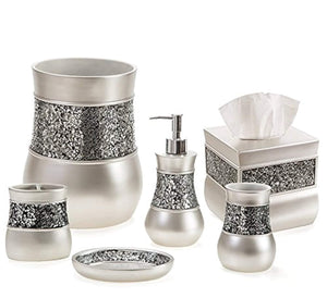 Creative Scents Bathroom Accessories Set, Decorative 6 Piece Bath Accessory Decor Features Soap Dispenser, Toothbrush Holder, Tumbler, Soap Dish, Square Tissue Cover & Trash Can (Silver Colored)