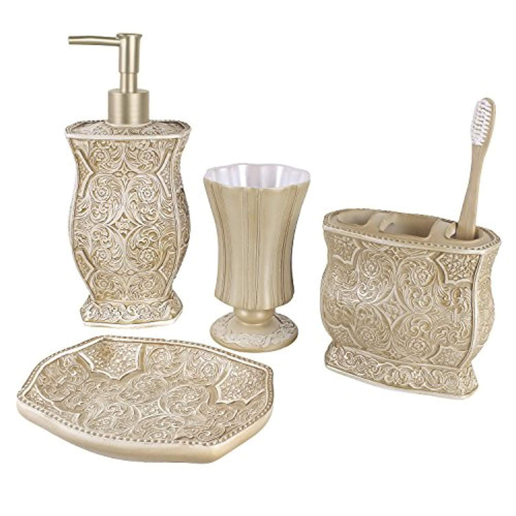 Creative Scents Victoria Bath Ensemble, 4 Piece Bathroom Accessories Set, Victoria Collection Bath Gift Set Features Soap Dispenser, Toothbrush Holder, Tumbler, Soap Dish
