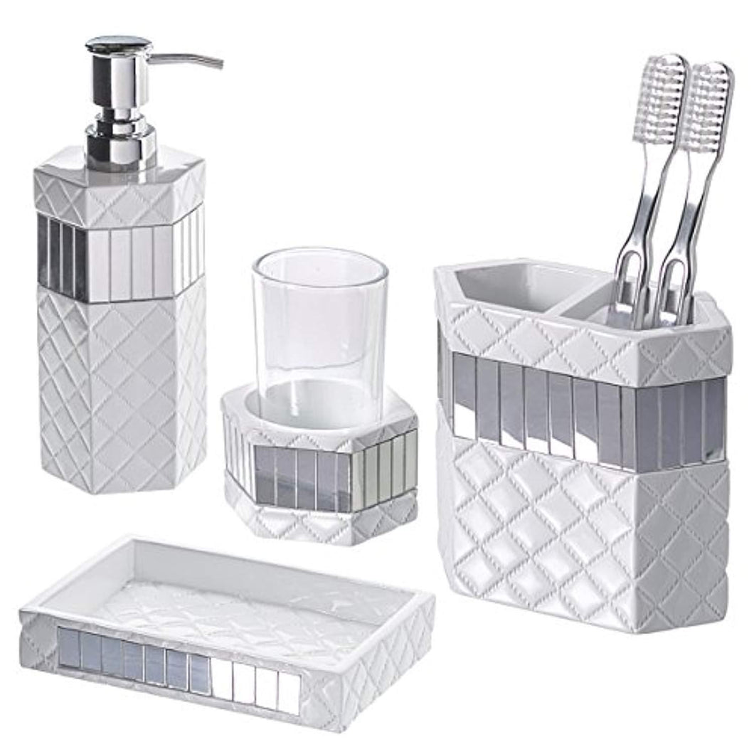 Creative Scents Quilted Mirror Bathroom Accessories Set, 4-Piece, Includes Soap Dispenser, Toothbrush Holder, Tumbler & Soap Dish, Gift Package, Finished in White And Silver Mirrored Accents