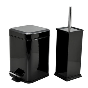 Harbour Housewares Square Steel Bathroom Pedal Bin & Toilet Brush Set - Black