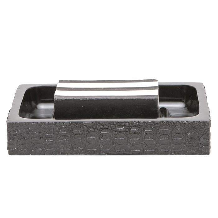 Hawen Faux Crocodile Bathroom Accessories - Black