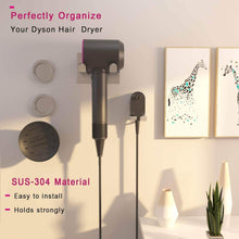 Load image into Gallery viewer, Featured xigoo hair dryer holder self adhesive dyson hair dryer wall mount holder compatible dyson supersonic hair dryer brushed 304 stainless steel power plug diffuser and nozzles organizer