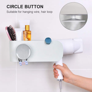Organize with visv hair dryer holder wall mount hair tools holder bathroom styling tool organizer no drilling styling tool holder for bathroom storage grey