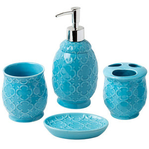 Designer 4-Piece Ceramic Bath Accessory Set | Includes Liquid Soap or Lotion Dispenser w/Toothbrush Holder, Tumbler, Soap Dish | Moroccan Trellis | Contour Grey