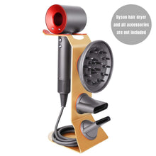 Load image into Gallery viewer, Try fle hair dryer stand holder gold hair blow dryer stand rack organizer compatible for dyson supersonic hair dryer diffuser nozzle