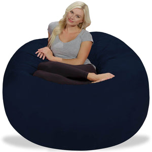 Best chill sack bean bag chair giant 5 memory foam furniture bean bag big sofa with soft micro fiber cover navy