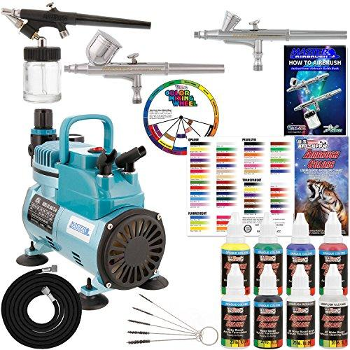 3 Master Airbrush Professional Acrylic Paint Airbrushing System Kit with Powerful Cool Running